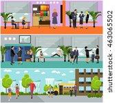 set of school concept banners.... | Shutterstock . vector #463065502