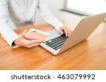 woman using laptop computer... | Shutterstock . vector #463079992