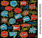 hand drawn comic speech bubbles ... | Shutterstock .eps vector #463103342