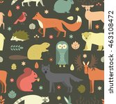 pattern with forest animals mae ... | Shutterstock .eps vector #463108472