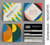 retro covers set. colorful... | Shutterstock .eps vector #463134755