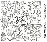 pool party summer doodle icons...   Shutterstock .eps vector #463150982