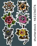 traditional tattoo roses set... | Shutterstock .eps vector #463156076