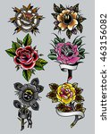 traditional tattoo roses set... | Shutterstock .eps vector #463156082