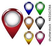 glossy map pointer marker set.... | Shutterstock .eps vector #463161566