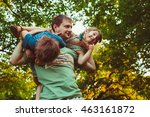 young dad playing with his ... | Shutterstock . vector #463161872