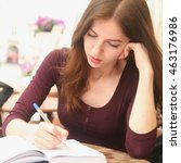 young beautiful girl is... | Shutterstock . vector #463176986