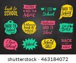 vector set of vintage back to... | Shutterstock .eps vector #463184072
