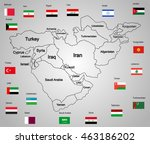 middle east vector map set of... | Shutterstock .eps vector #463186202