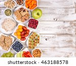 healthy snacks on wooden table... | Shutterstock . vector #463188578