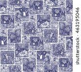 vector abstract seamless doodle ... | Shutterstock .eps vector #463195046