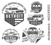 set of muscle car for logo and... | Shutterstock .eps vector #463195052