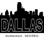 Dallas skyline black silhouette on white - stock vector