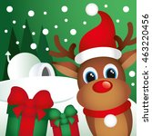 christmas deer with gifts ... | Shutterstock .eps vector #463220456