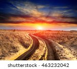 rut road in sands on sunset... | Shutterstock . vector #463232042