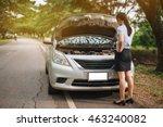 attractive brunette in front of ... | Shutterstock . vector #463240082