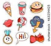 set cartoon patch badges or... | Shutterstock .eps vector #463254425