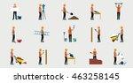 construction workers in uniform ...   Shutterstock .eps vector #463258145