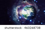 planet earth global hologram  ... | Shutterstock . vector #463268738