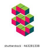 isometric pixel number 8. 3d... | Shutterstock .eps vector #463281338
