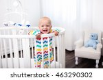 cute laughing baby standing in... | Shutterstock . vector #463290302