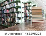old books on wooden table in... | Shutterstock . vector #463295225