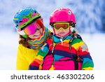 mother and little child skiing... | Shutterstock . vector #463302206