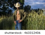 portrait of sexy farmer or... | Shutterstock . vector #463312406