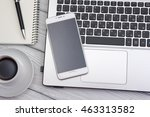 office desk table with supplies.... | Shutterstock . vector #463313582