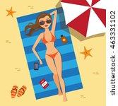 girl on the beach with a bikini....   Shutterstock .eps vector #463331102