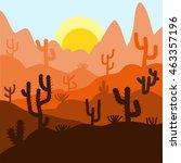cactus plants in desert sunset... | Shutterstock .eps vector #463357196