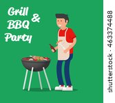 man of cooking meat with a... | Shutterstock .eps vector #463374488