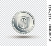 silver coin on a transparent... | Shutterstock .eps vector #463374686