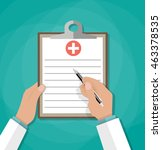clipboard in doctors hand. make ... | Shutterstock .eps vector #463378535