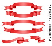 red web ribbons set  vector... | Shutterstock .eps vector #463386662