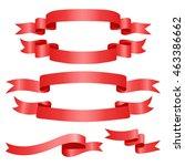 red web ribbons set  vector... | Shutterstock .eps vector #463386662