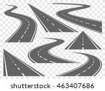 set of bending roads and... | Shutterstock .eps vector #463407686