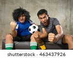 a two people friend cheering... | Shutterstock . vector #463437926