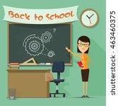 a teacher at the blackboard ... | Shutterstock .eps vector #463460375