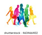 a group of busy men and women... | Shutterstock .eps vector #463466402