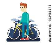 walk on a bike in a big city | Shutterstock .eps vector #463485875