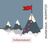 flag on the mountain peak.... | Shutterstock .eps vector #463494725