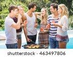 happy friends having juice and... | Shutterstock . vector #463497806