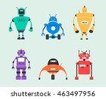 set of robots. vintage style.... | Shutterstock .eps vector #463497956