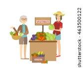 farmer vegetables stand on the... | Shutterstock .eps vector #463500122