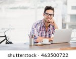 portrait of young man sitting... | Shutterstock . vector #463500722