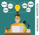 programmer sitting at the... | Shutterstock .eps vector #463509116