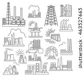 factory buildings icon set.... | Shutterstock .eps vector #463527665