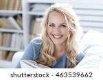 beautiful woman with blond hair ... | Shutterstock . vector #463539662