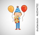boy in his celebration party... | Shutterstock .eps vector #463544702